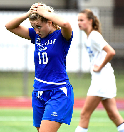 9/11/2018 Mike Orazzi | Staff Plainville's Isabella Niziolek (10) during Tuesday's soccer at Plainville High School.