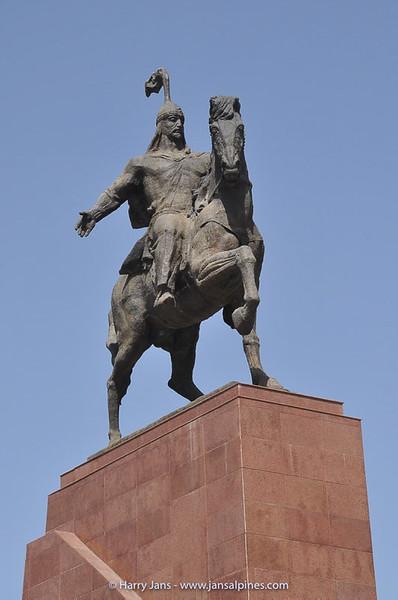 Manas statue on square in Bishkek