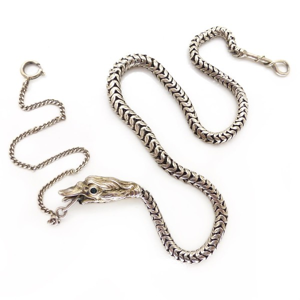 ANTIQUE VICTORIAN FRENCH SOLID SILVER DRAGON / SERPENT WATCH CHAIN