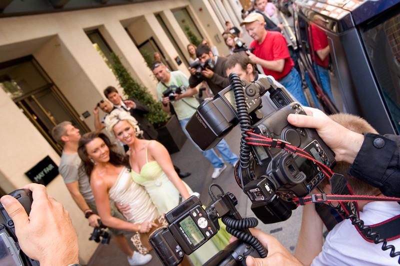 Paparazzi photographers at work photographing celebrities  outside Mayfair hotel, London, United Kingdom