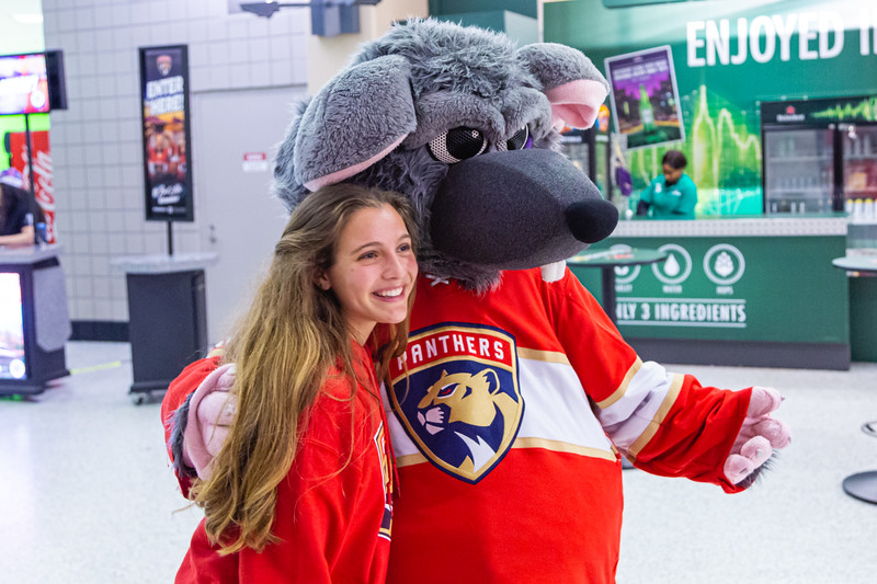 A Panthers fan poses for a picture with Viktor E. Rat at the BB&T Center where the Panthers played the Vancouver Canucks on Thursday, January 9, 2020. The Panthers would go on to win 5-2. [JOSEPH FORZANO/palmbeachpost.com]