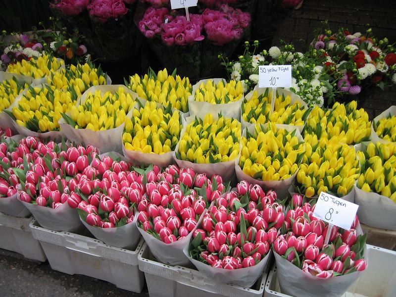 50 tulips for 8 euros ($10.50)