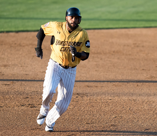 06/29/18 Wesley Bunnell | Staff The New Britain Bees were defeated 6-4 by the Southern Maryland Blue Crabs. Darren Ford (8) rounds second on his way to third base.