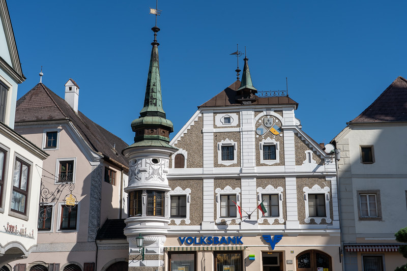 Town square in Grein, Austria