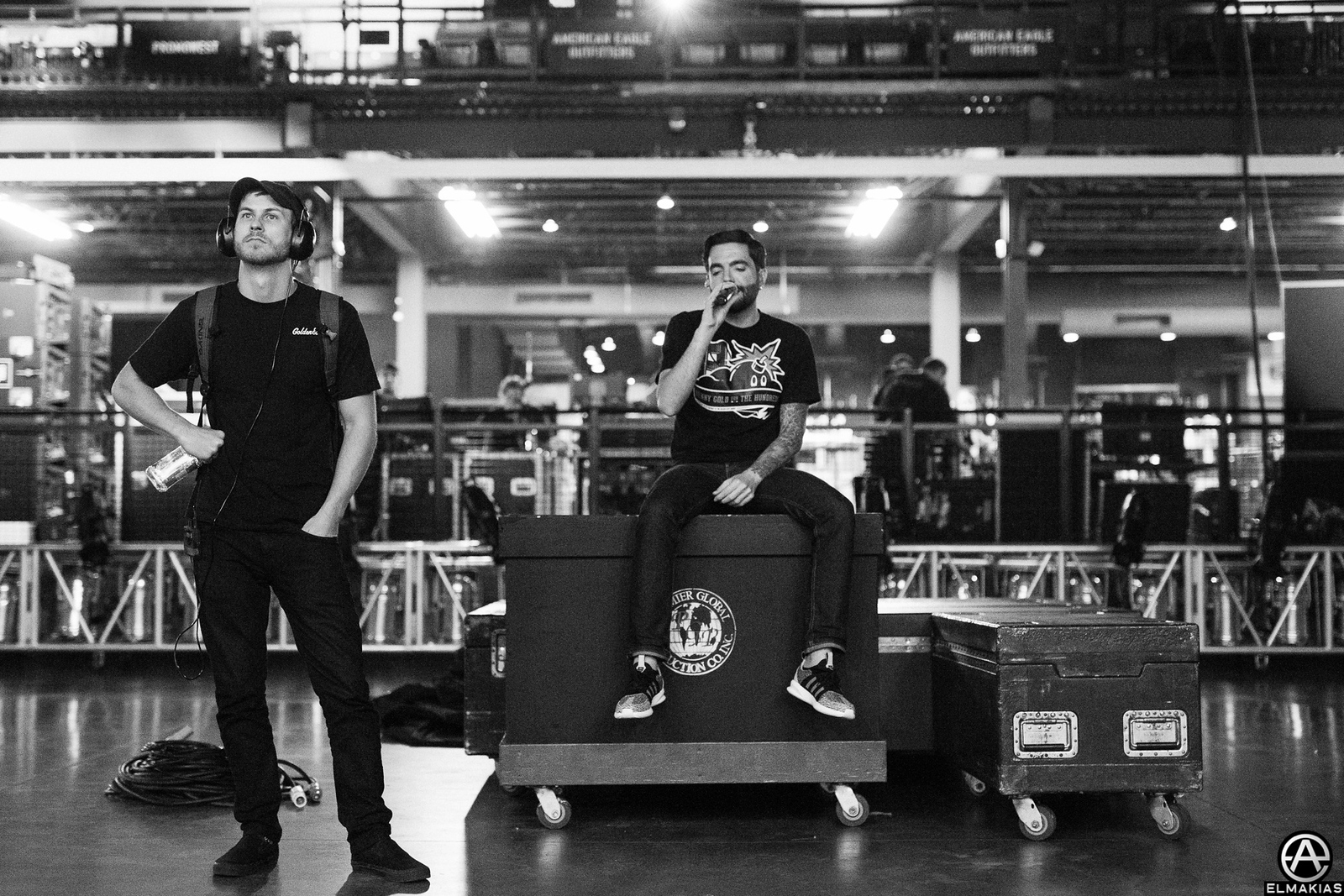 Andrew Wade and Jeremy McKinnon making sure all the tracks are perfect - Parks and Devastation Tour by Adam Elmakias