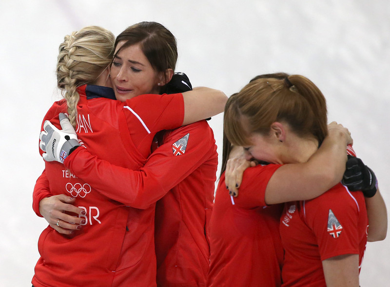 . Claire Hamilton (R) and Eve Muirhead (2-L) of Great Britain react after winning the Bronze Medal match between Switzerland and Great Britain in the Women\'s Curling competition in the Ice Cube Curling Center at the Sochi 2014 Olympic Games, Sochi, Russia 20 February 2014.  EPA/TATYANA ZENKOVICH