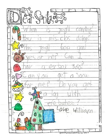Letters to Santa, Mrs. Johnston's first grade, 12/14/2017