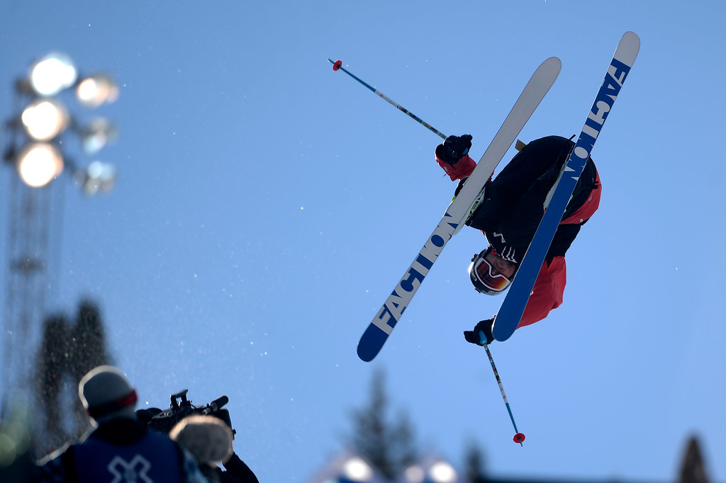 . ASPEN, CO - JANUARY 25: Gold medalist Simon d\'Artois performs during the men\'s ski half pipe final. Winter X Games on Sunday, January 25, 2015. (Photo by AAron Ontiveroz/The Denver Post)