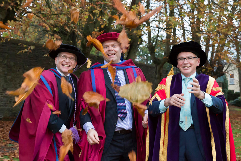 WIT (Waterford Institute of Technology) conferring ceremony at WIT College Street Campus, Waterford. Prof. John Wells, Doctor of Philosophy Mark White and Prof. Willie Donnelly President WIT. Photo; Mary Browne