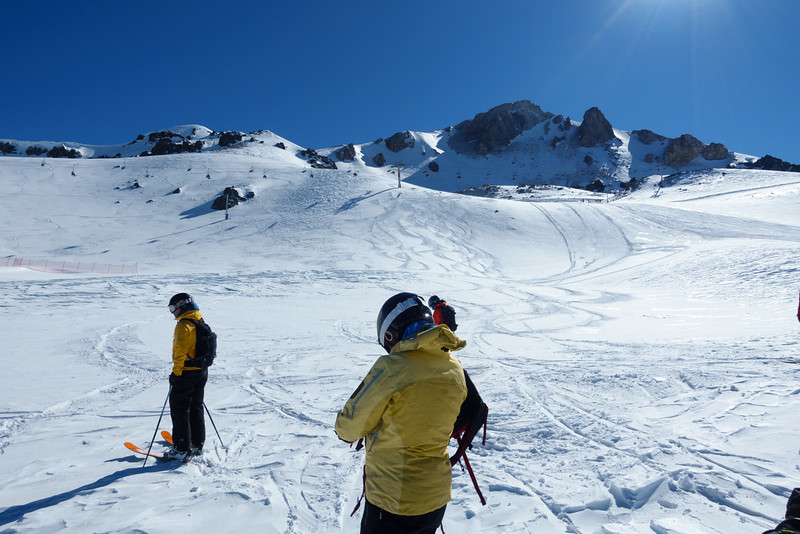Looking back on our tracks in La Parva.