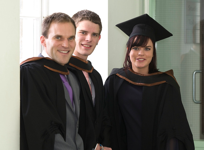 6/1/2012. News. Free to use image. Waterford Institute of Technology (WIT) conferring ceremony. Pictured are Eric Reith, Eoin Geoghan, Wexford and Emma O'Rourke, Carlow who graduated Bachelor of Arts (Honours) in Applied Social Studies in Social Care. Photo Patrick Browne