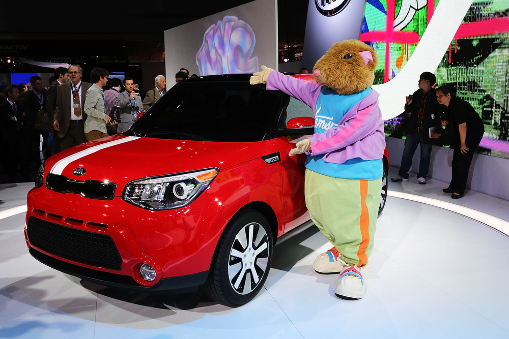 . The new 2014 Kia Soul is displayed at the 2013 New York International Auto Show on March 27, 2013 in New York City.  The New York Auto Show will open to the public on Friday and run until April 7.  (Photo by Spencer Platt/Getty Images)