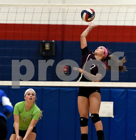 10/19/2017 Mike Orazzi   Staff Bristol Central's Peyton Greger (7) during Thursday's volleyball match in Plainville.