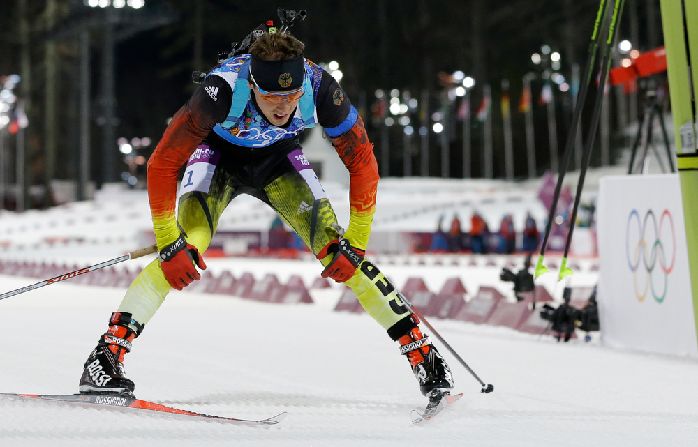 . Germany\'s Simon Schempp crosses the finish line to win the silver during the men\'s biathlon 4x7.5K relay at the 2014 Winter Olympics, Saturday, Feb. 22, 2014, in Krasnaya Polyana, Russia. (AP Photo/Kirsty Wigglesworth)