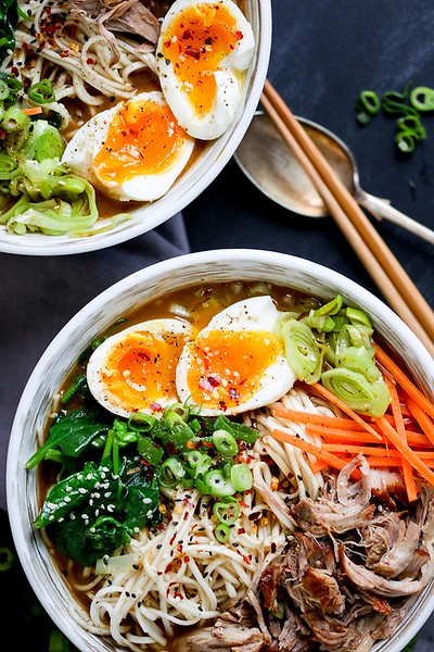 (c) Kitchen Sanctuary http://kitchensanctuary.com/2016/07/spicy-pork-ramen-noodle-soup/