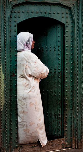 Widow wearing white.  Marrakesh, Morocco, 2010.