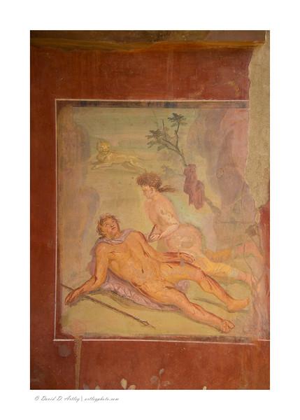 Fresco of Pyramus and Thisbe in the House of Loreius Tibutinus, Pompeii, Italy