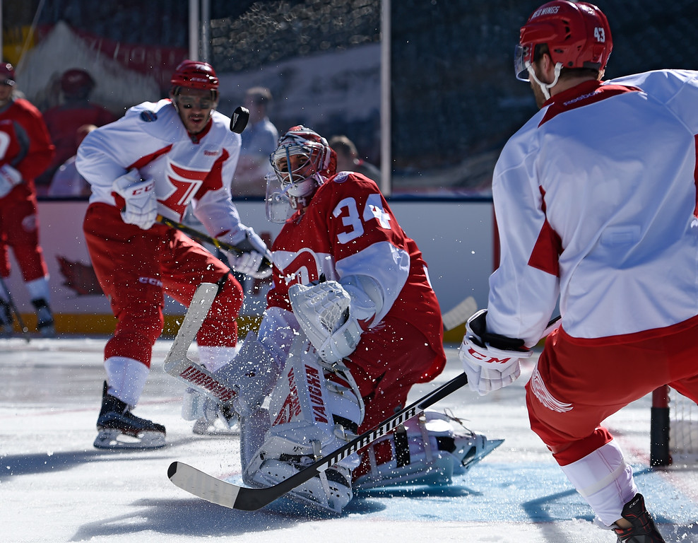 . DENVER, CO - FEBRUARY 26: Detroit Red Wings goalie Petr Mrazek (34) looks out at the puck after making  save during practice February 26, 2016 at Coors Field. (Photo By John Leyba/The Denver Post)