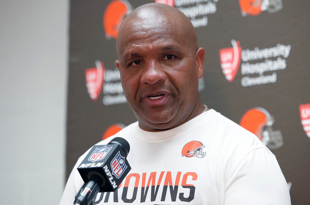 . Cleveland Browns head coach Hue Jackson speaks during a media availability after an NFL football game Sunday, Oct. 2, 2016, in Landover, Md. The Redskins won 31-20. (AP Photo/Carolyn Kaster)