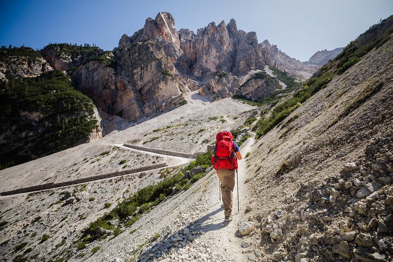 David Stock hiking on the Alta Via 1 in the Dolomites, Italy