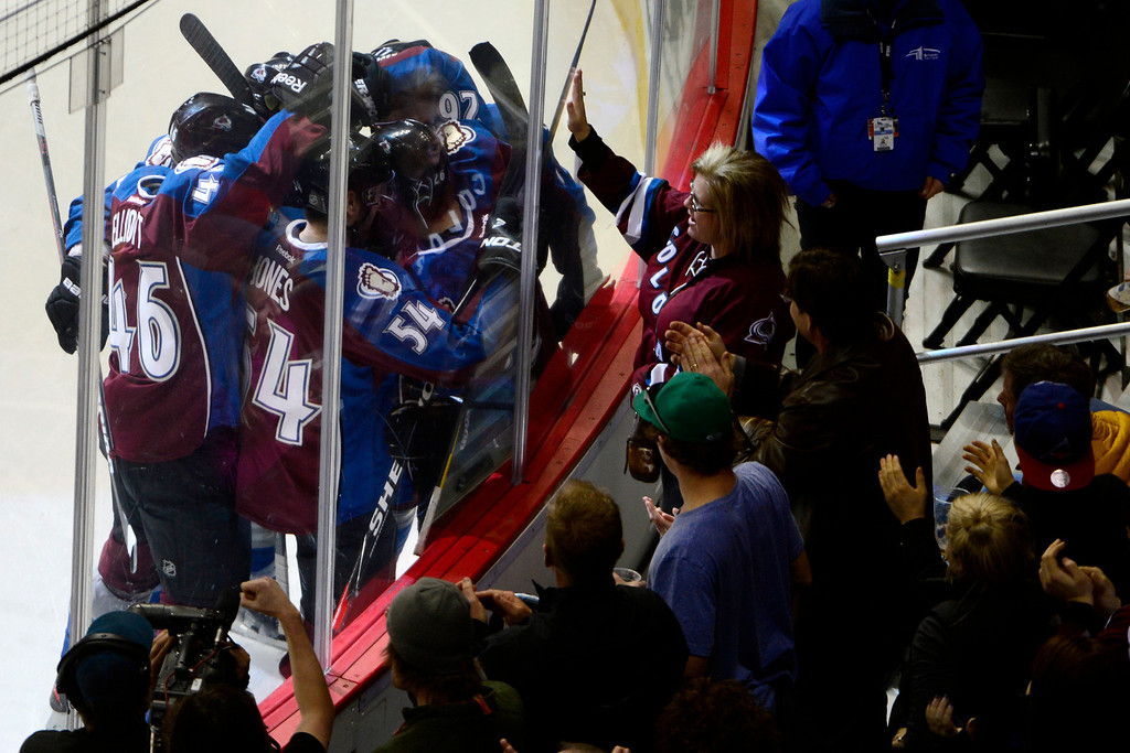 . The Colorado Avalanche celebrate a goal by Paul Stastny (26) against the Nashville Predators during the second period of action. The Colorado Avalanche take on the Nashville Predators at the Pepsi Center on February 18, 2013. (Photo By AAron Ontiveroz/The Denver Post)