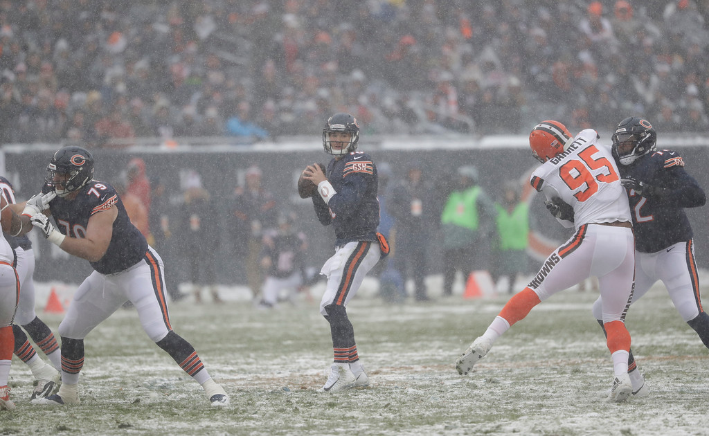 . Chicago Bears quarterback Mitchell Trubisky (10) looks to throw against the Cleveland Browns during an NFL football game in Chicago, Sunday, Dec. 24, 2017. (AP Photo/Charles Rex Arbogast)