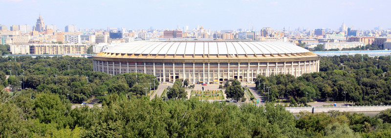 Moscow Olympic Stadium (1980) and city skyline from Sparrow Hill.