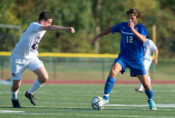 10/01/19 Wesley Bunnell | StaffrrSouthington boys soccer was defeated by Avon 3-2 on Tuesday afternoon at Southington High School. Cole Marek (12).