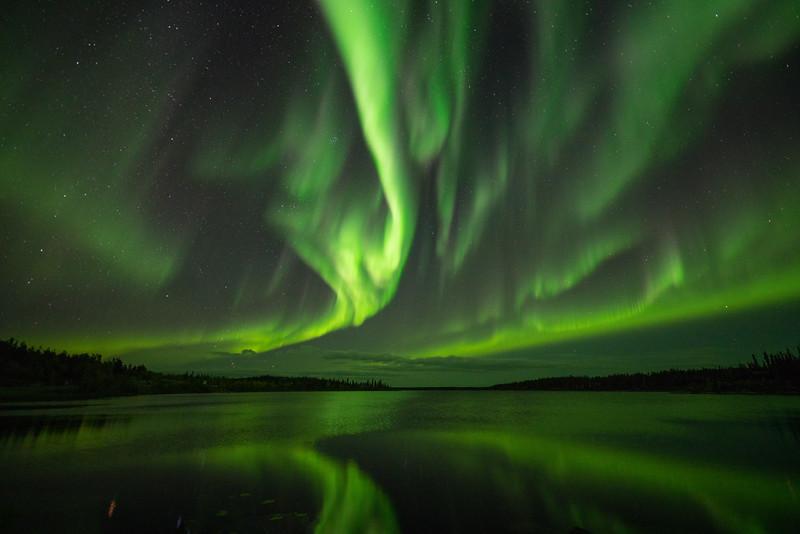 Jack Fusco - Yellowknife Aurora Pontoon Lake Reflections.jpg