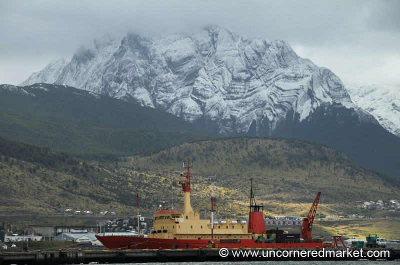 A Colorful, Large Ship Docked in Ushuaia, Argentina