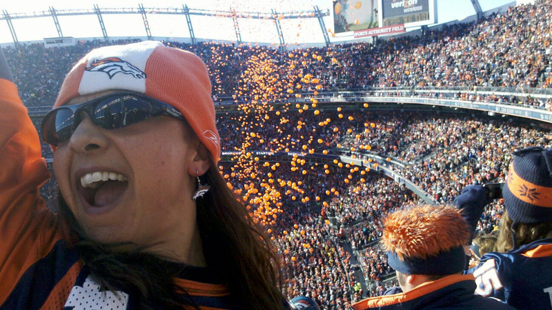 . Mieszka Laczek-Johnson celebrates before a Broncos victory.