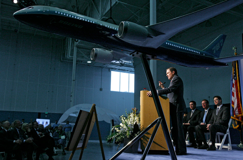Description of . Gov. Gary Herbert speaks as Boeing celebrates the opening of a new manufacturing plant in West Jordan, Utah, on Friday, Jan. 11, 2013. The U.S. government stepped in Friday to assure the public that Boeing's new 787