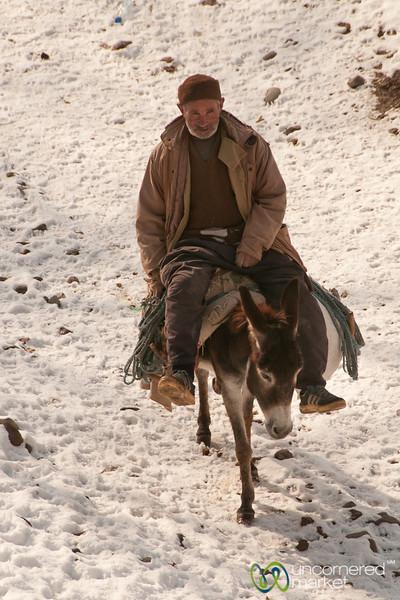 Iranian Man on Donkey - Kandovan, Iran