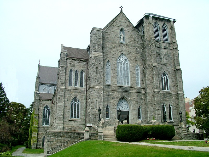 front of Immaculate Conception Catholic Church ~ Lowell, MA