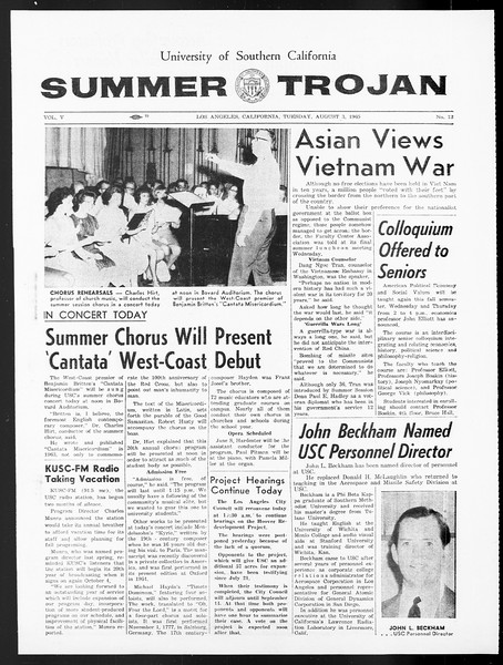 Summer Trojan, Vol. 15, No. 12, August 03, 1965