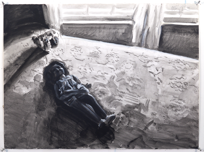 Untitled (southern gothic)(bw); acrylic on paper, 22 x 30 in, 1994