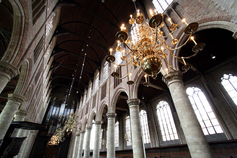 The Nieuwe Kerk (New Church) in Delft started construction in 1396.  This church is the resting place of the House of Orange since the 1500s.