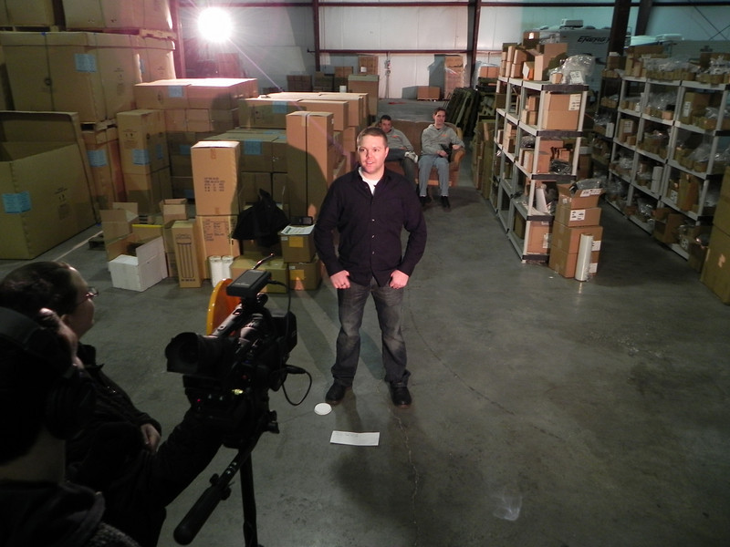 2011/2/3 – Today we started shooting a video on one of our products called Fishbowl Mobile Warehouse. It is a wireless hand-held bar code software solution that integrates with our core product, Fishbowl Inventory. The video is for a conference we are holding in March. The shoot is to show how the product works and what the benefits are. We started shooting at our offices and then finished at a very cold warehouse. I think it was around 50 degrees inside when we finished at about 8:30 that evening.