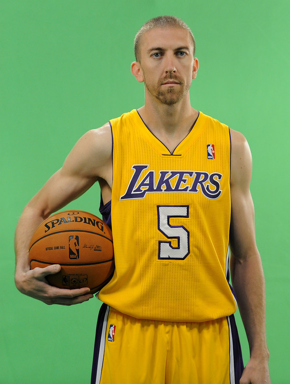 . Steve Blake does a public service announcement. The Los Angeles Lakers held a media day at their El Segundo practice facility. Players were photographed for team materials, and interviewed by the press. El Segundo, CA. 9/27/2013. photo by (John McCoy/Los An8eles Daily News)