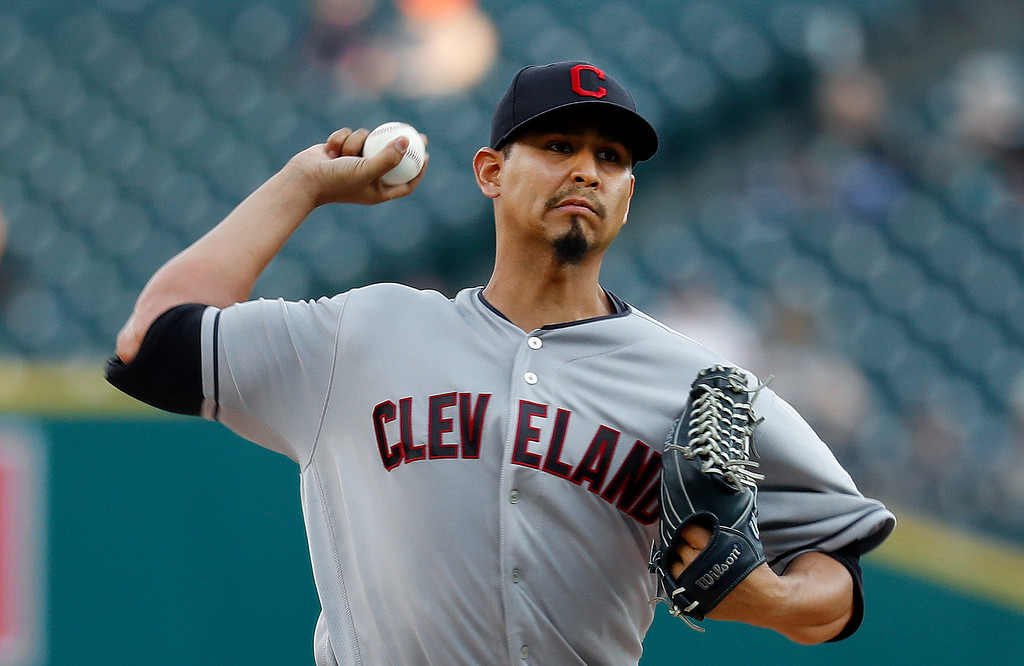 . Cleveland Indians pitcher Carlos Carrasco throws against the Detroit Tigers in the first inning of a baseball game in Detroit, Monday, May 14, 2018. (AP Photo/Paul Sancya)