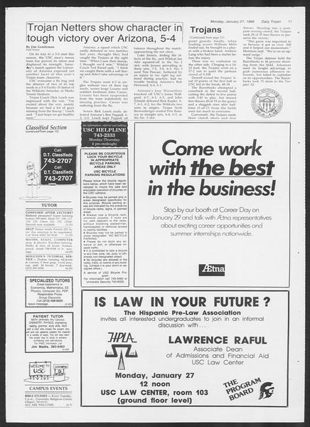 Daily Trojan, Vol. 100, No. 12, January 27, 1986