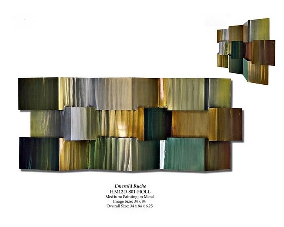 """Emerald Ruche-Hollack, 34""""x84"""" painting on metal."""