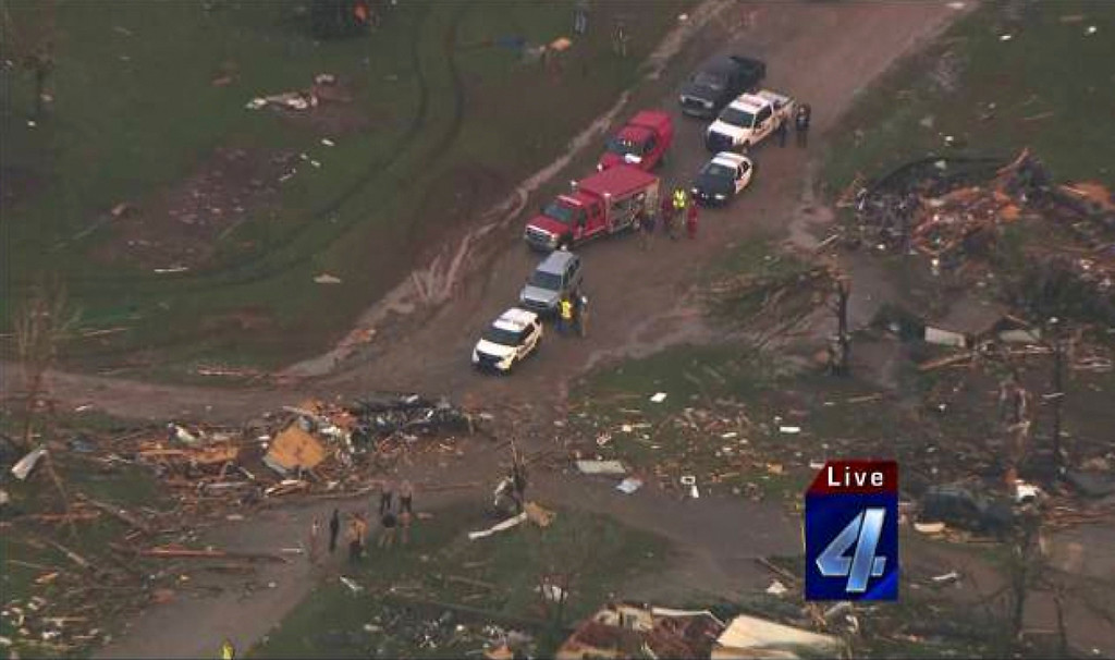 . An aerial view of the damage in the aftermath of tornadoes that touched down near Shawnee Twin Lakes, Oklahoma May 19, 2013, in this still image provided by KFOR-TV. A tornado half a mile wide struck near Oklahoma City on Sunday, part of a massive storm front that hammered the central United States. News reports said at least one person had died. Courtesy of KFOR-TV/Handout via Reuters