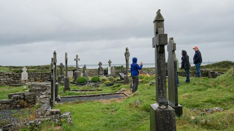 Carolyn holding class, Inis Mor, Aran Isles, Ireland