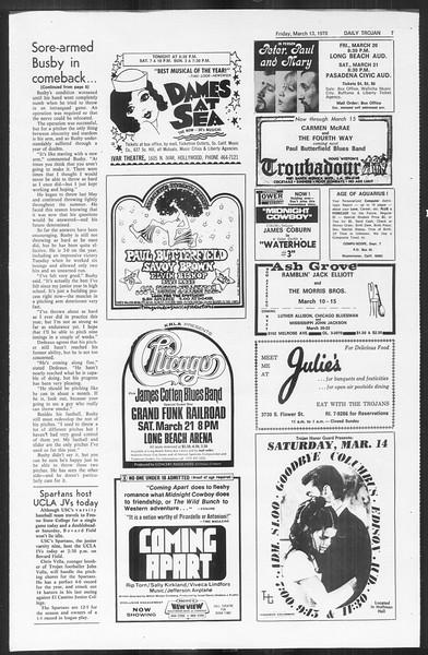 Daily Trojan, Vol. 61, No. 91, March 13, 1970