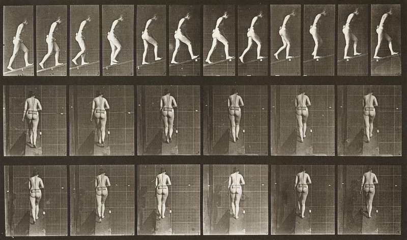 Nude woman ascending an incline (Animal Locomotion, 1887, plate 79)