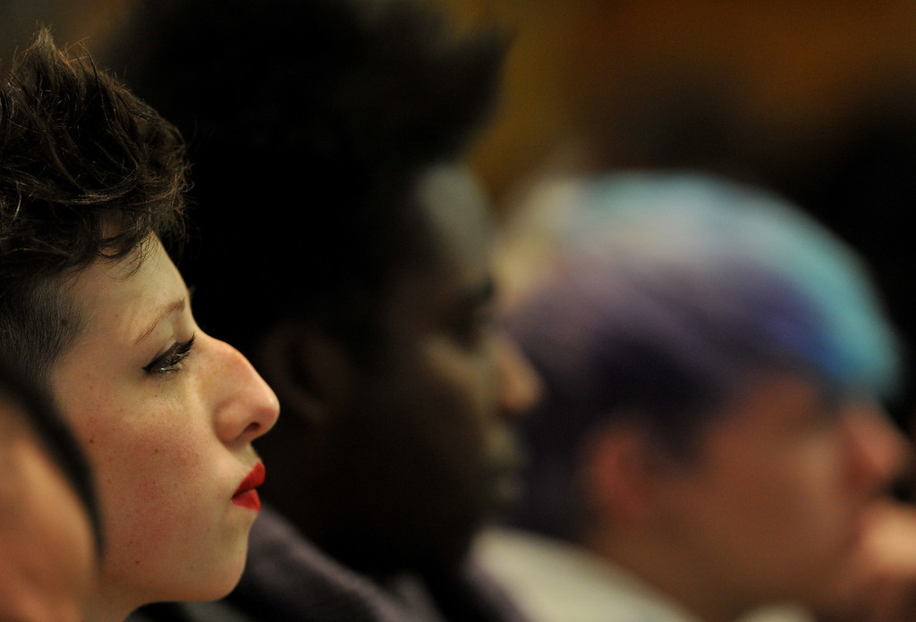 . DENVER, CO. - FEBRUARY 28: Zoe Novotny, 14, of Manitou Springs High School, left, and people are listening the House Judiciary Committee\'s hearing of Senate Bill 11, which would allow gay couples to form civil unions. February 28, 2013. Denver, Colorado. (Photo By Hyoung Chang/The Denver Post)