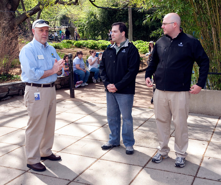 National Zoo Director Dennis Kelly gives an overview of the Zoo's mission and congratulates  Craig and DJ on completing the quest. Photo by Alex Perry. (4/23/11)