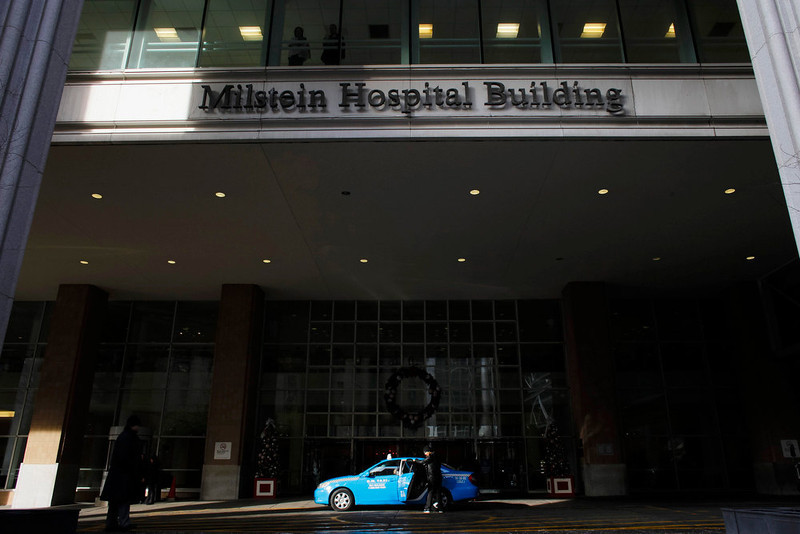 . A taxi stops outside the Milstein Hospital Building at the NewYork-Presbyterian Hospital where U.S. Secretary of State Hillary Clinton was hospitalized in New York, December 31, 2012. Clinton was admitted to a New York hospital on Sunday with a blood clot linked to a concussion she suffered earlier this month, the State Department said in an announcement that looked sure to fuel speculation over the health of one of America\'s best-known political figures. REUTERS/Eduardo Munoz