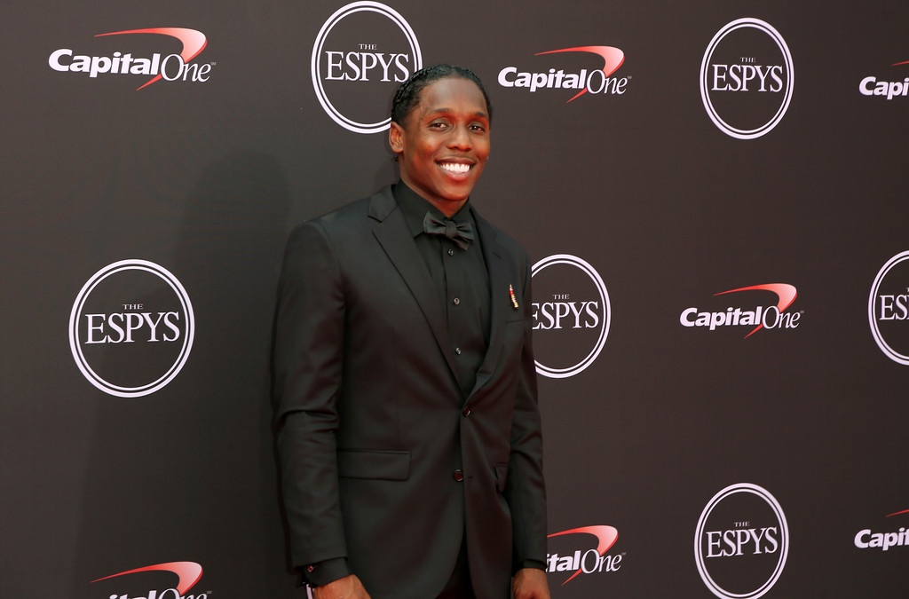 . Tennessee Titans\' Adoree\' Jackson arrives at the ESPY Awards at Microsoft Theater on Wednesday, July 18, 2018, in Los Angeles. (Photo by Willy Sanjuan/Invision/AP)